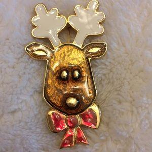 Rudolph Christmas brooch pin goldtone